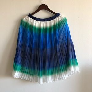 French Connection Blue Green Pleated Midi Skirt